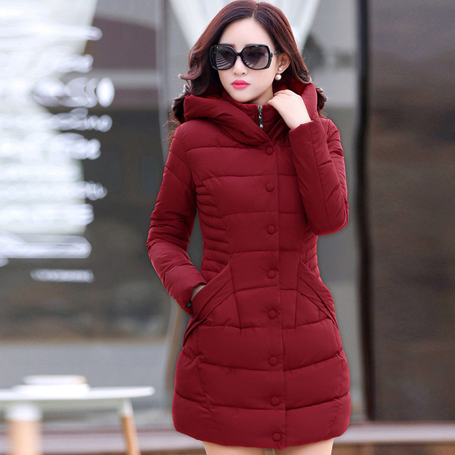 2017 Novas mulheres jaquetas 4 cores de algodão com capuz jaqueta de inverno coreano longa seção ocasional revestimento das mulheres de inverno de todos os jogo fino