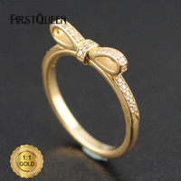 FirstQueen Top Quality Sparkling Bow Stackable Ring, Clear CZ & 14K Gold Rings For Woman Brand Fine Jewelry Factory Dropship