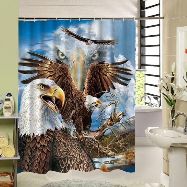 Eagle Bird Shower Curtain Fabric 3d Print Art Design For Bathroom Machine Washable
