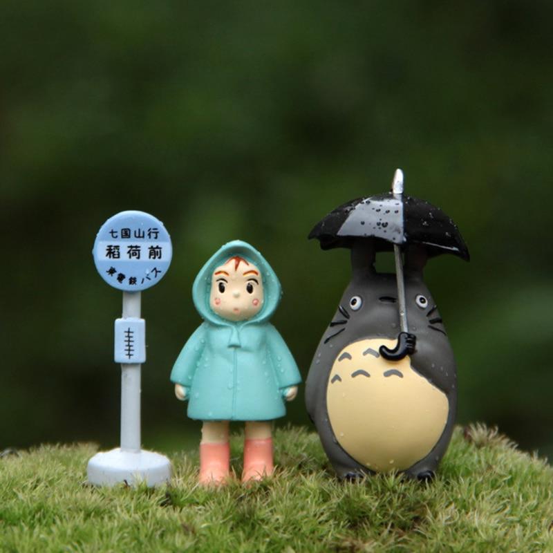 SJFC 3 pcs / set Taman Totoro Miniatur Terarium Hayao Miyazaki Figurines Mainan Resin Kerajinan Taman Aksesoris Action Figure ...