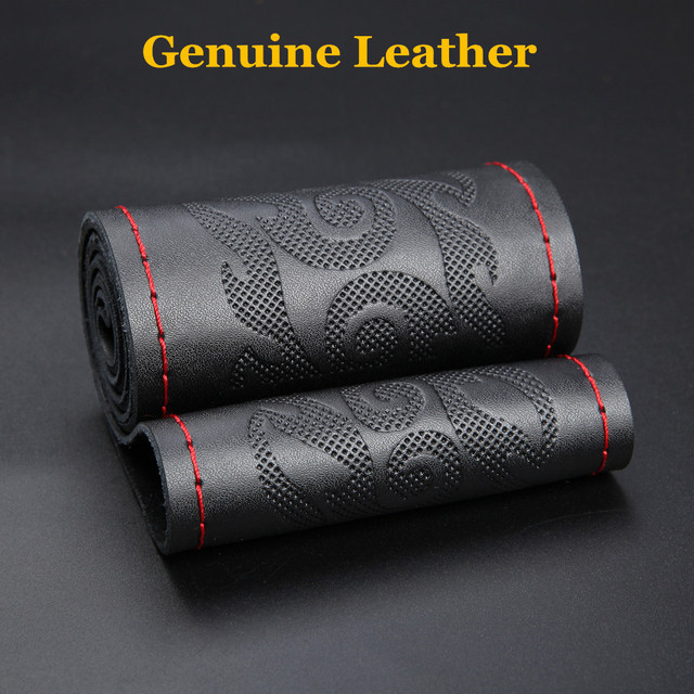 Car Steering Wheel Cover DIY Genuine Leather Braid On The Steering-Wheel With Needles Thread Car-Styling Interior Accessories
