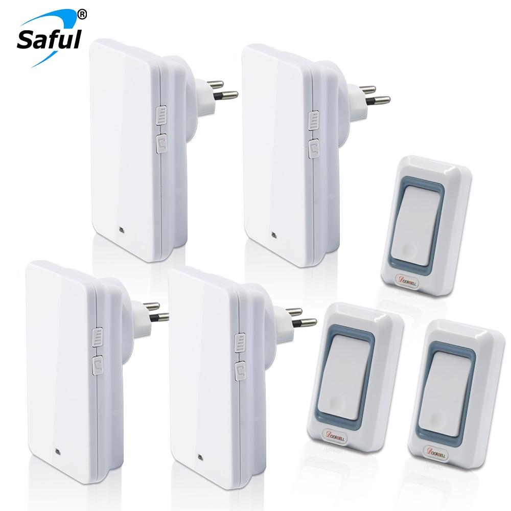 где купить Saful Wireless Doorbell Waterproof Push Button with 3 Outdoor Transmitters + 4 Indoor Doorbells Receiver EU/US/UK/AU Plug по лучшей цене