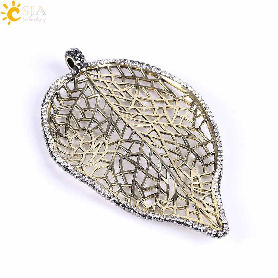 CSJA Filigree Vintage Silver Gold Hollow Leaf ใหญ่สร้อยคอและจี้ผู้หญิงผู้ชาย Rhinestone Punk Boho ของขวัญเครื่องประดับ e645