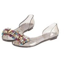 35-40 Летние Сандалии Женщин кристалл горного хрусталя стразами боути бабочка узел обувь желе peep toe дождевой воды обувь оксфорды квартиры