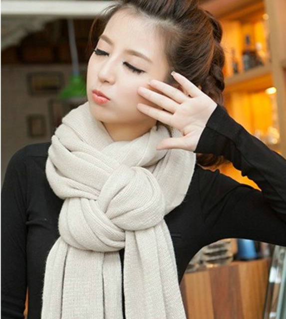 Korean Simple Solid Color Warm Winter #Scarf #Women Elastic Knitted Wool Ring Scarves #fashion #boygrl 2