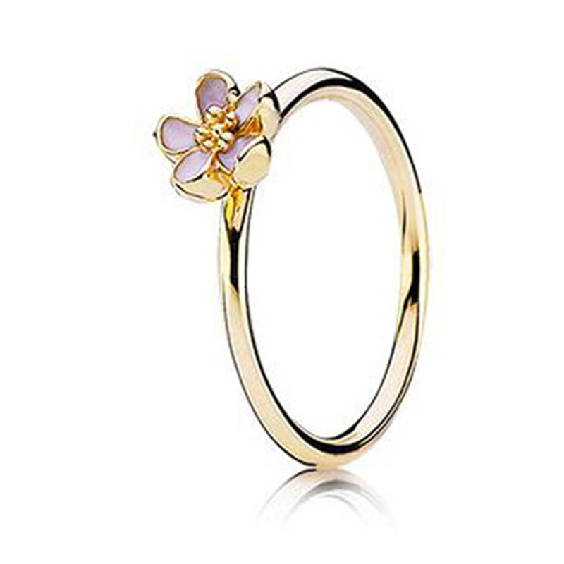 2019 Spring New Fashion 925 Sterling Silver Europe Shine Pink Daisy Ring For Women Wedding DIY Fine Jewelry Birthday Party Gift in Rings from Jewelry Accessories