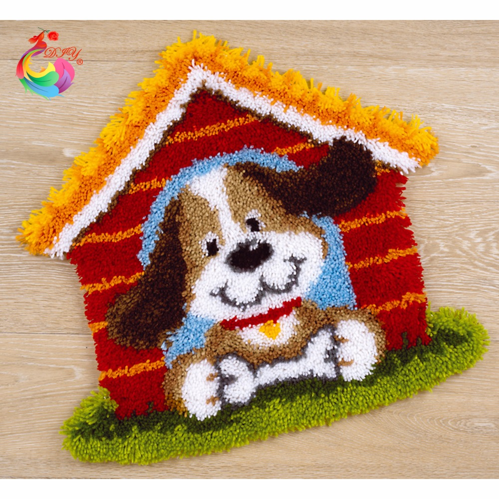 Rug Dogs Embroidery Designs: Latch Hook Rug Kits Patchwork Carpet Crochet Hook Cross