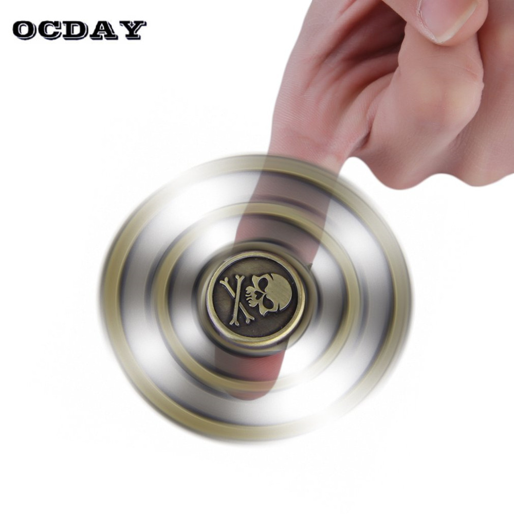 OCDAY Fishbone Fidget Spinner Hand Spinner Bronze Stress Reliver Cube Focus ADHD EDC Gyro Toys Skull Head Pattern Finger Spiner