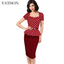 Womens Red Lotus Leaf Hem Dot Print Pencil Dress Plus Size 4XL Vintage Fake two Office Work Casual Party Bodycon Dresses YATHON