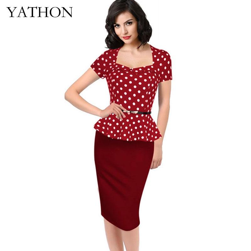 Womens Red Lotus Leaf Hem Dot Print Pencil Dress Plus Size 4XL Vintage Fake two Office