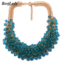 Best lady Women Statement Luxury Vintage Crystal Colorful Gem Necklace &Pendants Good Quality Hot Collar Necklace Jewelry B333