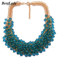 New Women Statement Luxury Vintage Crystal Colorful Gem Necklace Pendants Good Quality Hotsale Collar Necklace Jewelry
