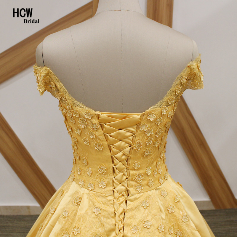 468f12df91 Yellow Ball Gown Evening Dress With Flowers 2019 Cap Sleeve Lace Up Back  Satin High Quality Long Evening Dresses Robe De Soiree-in Evening Dresses  from ...