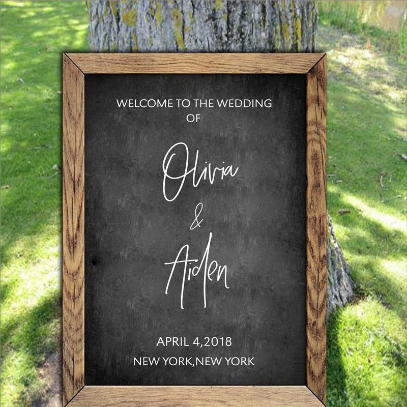 Персонализированные Добро Пожаловать Знак наклейки стикер Свадебный декор, пользовательские виниловые Съемные водостойкие свадебные приёмы Добро Пожаловать Знак Наклейка