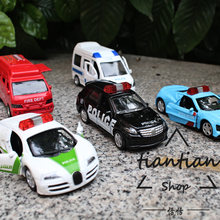 1:64 alloy car model police car series children's toys 5pcs Bugatti Benz Toyota fire truck Denmark 110 rescue vehicle(China)