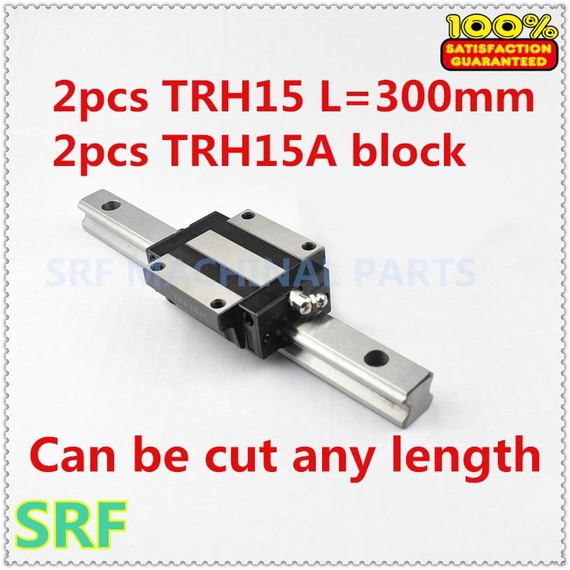 Free shipping 15mm width CNC Linear Guide Rail 2pcs THR15 L=300mm with 2pcs TRH15A Carriges slide block high quality 15mm precision linear guide rail 2pcs trh15 l 650mm 4pcs trh15a flange block for cnc