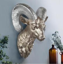 33*22*21CM Creative three-dimensional animal head mannequin deer wall hanging living room Shield Wedding craft Resin 1PC A328