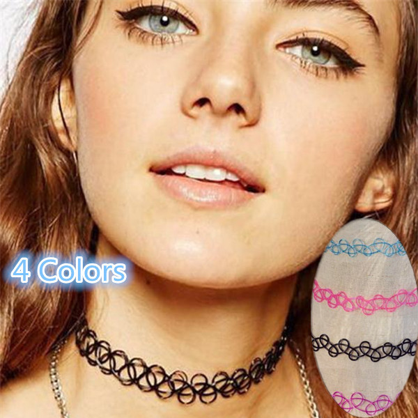 Aliexpress.com : Buy Vintage hippy stretch tattoo choker necklace ...