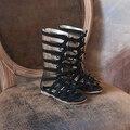 2017 Nuevo Verano botas Alto-top de la moda de Cuero Genuino Arco sandalias de las muchachas niños gladiador Romano sandalias de niño sandalias del bebé zapatos