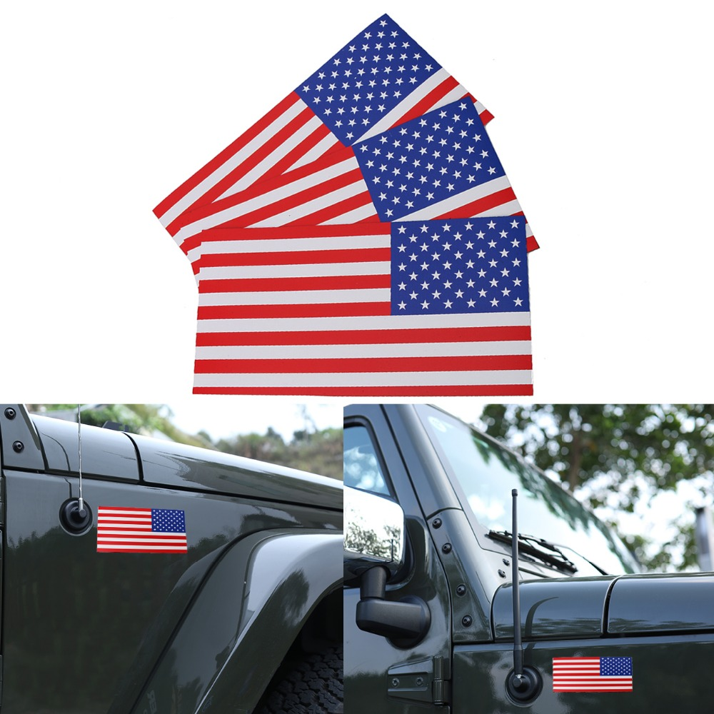 3PC 0.6mm Thick 7.5x4 Removable Magnetic Signs USA American Flag Auto Body Decal Outdoor Car Stickers on Right #SGB-10-3-HR
