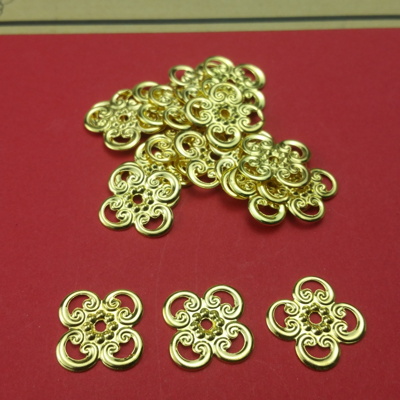 50pcs/lot 13mm  Metal Filigree Base Setting Jewelry DIY Components Gift Box Decoration Diy  For Connection