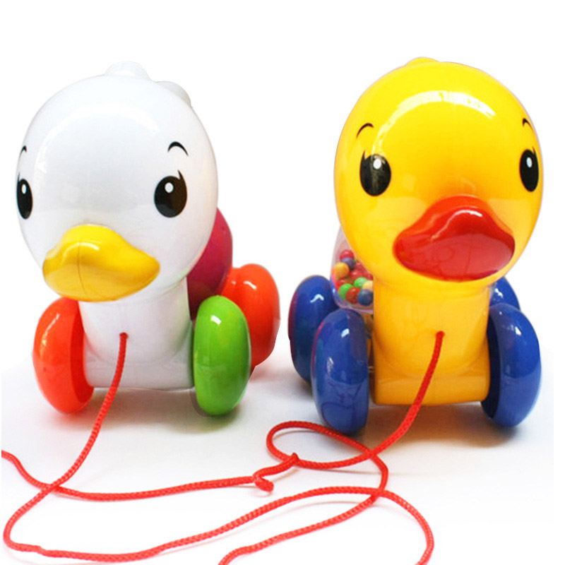 Cute Pull Along Small Duck With Rattles Toy Toddler Kids Baby Learn Walk Toy Plastic Cute Baby Toys Random Color Hot