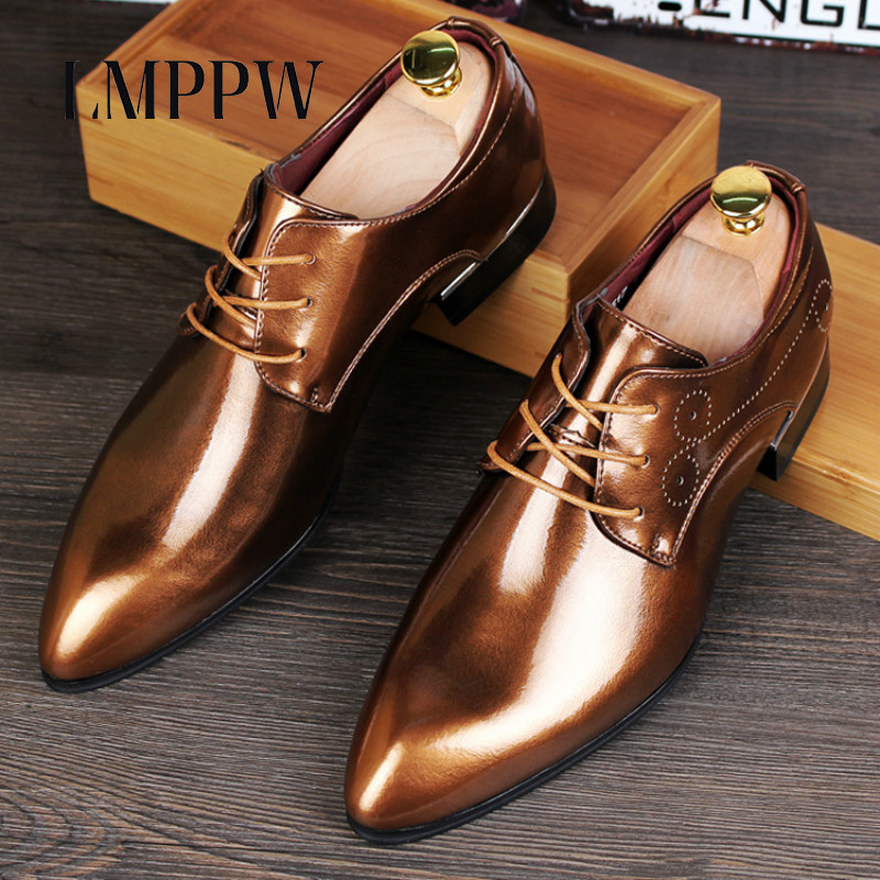 New Men's Leather Brogue Shoes Fashionable British Style Business Casual Shoes Pointed Toe Lace-up Wedding Party Shoes Oxfords 8