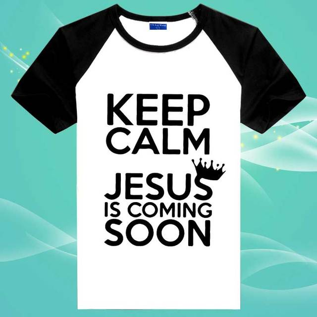 KEEP CALM Catholic Jesus God Christian T Shirts Men Cotton T Shirt ...