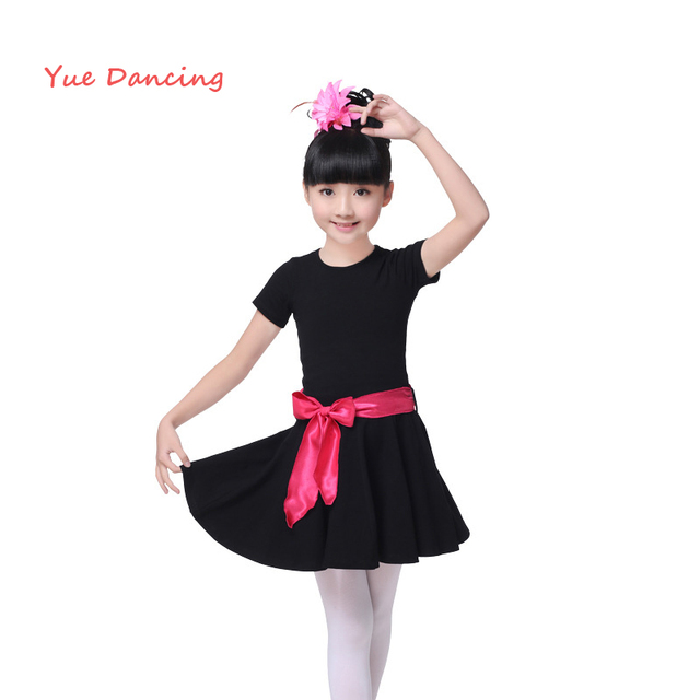 71a6a9cf4823 Black O neck Ballet Clothes Children Kids Gymnastics Leotard Girls ...