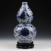 ceramics, antique blue and white porcelain vases crack glaze gourd vase Home Furnishing classical decorative ornaments