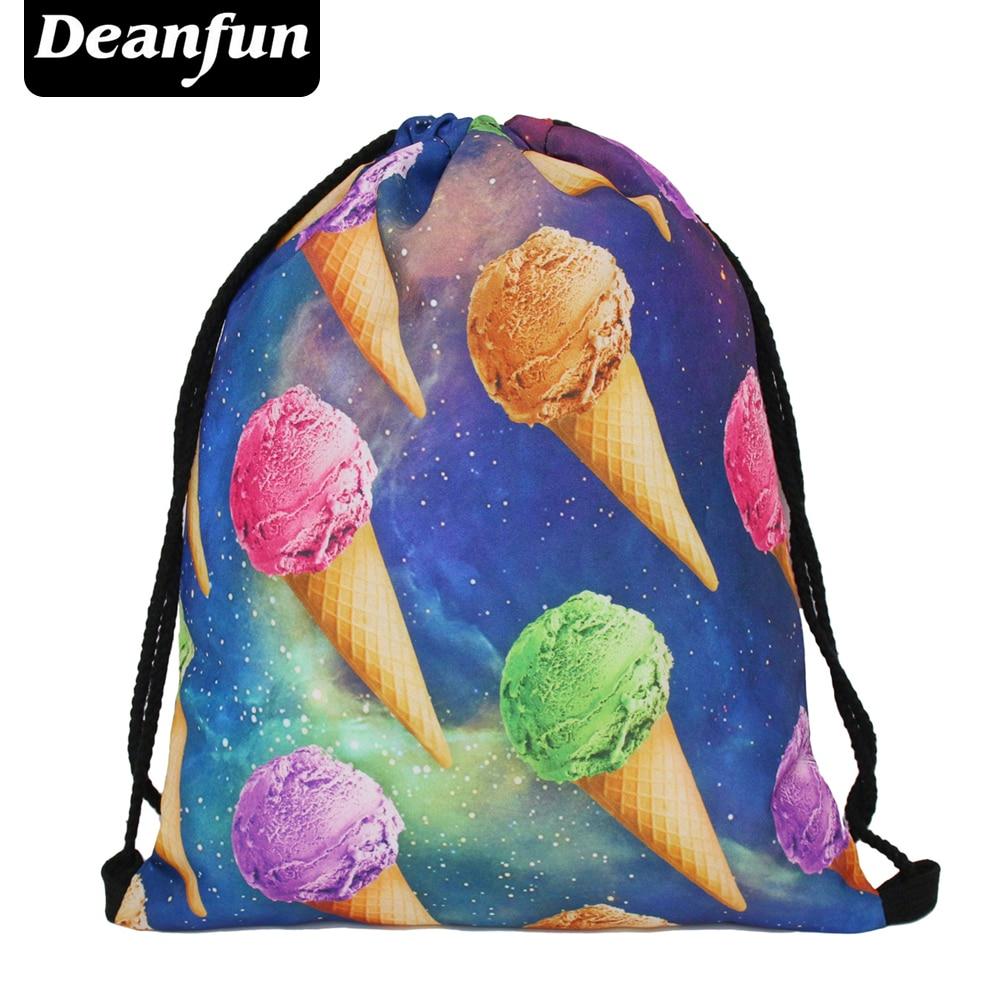 Deanfun new 2017 escolar backpack 3D printing travel softback man women mochila feminina drawstring bag backpack space ice cream