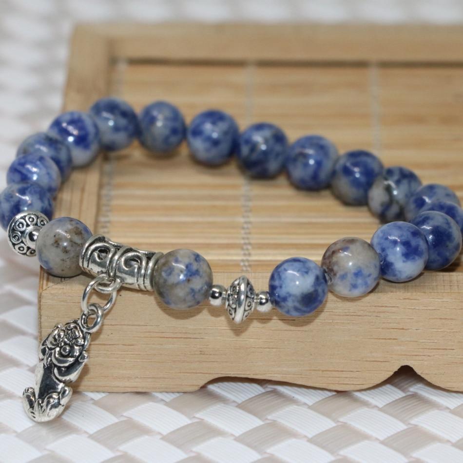 Blue Natural Dalmation Stone Round Beads Bracelets For Women New Fashion Wristband Female Bangles Vintage Jewelry 7.5inch B2031
