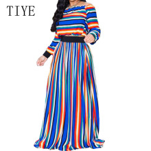 TTIYE Autumn Multi-color Stretch Stripe Print Casual Suit Large Swing Dress Elegant Long Sleeve Vintage Maxi Dress Plus Size XXL plus size zebra stripe swing high low dress