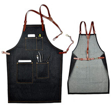 Black Denim Bib Apron w/ Leather Strap Barista Baker Bar BBQ Chef Uniform Barber Florist Tattoo Artist Carpenter Work Wear K15