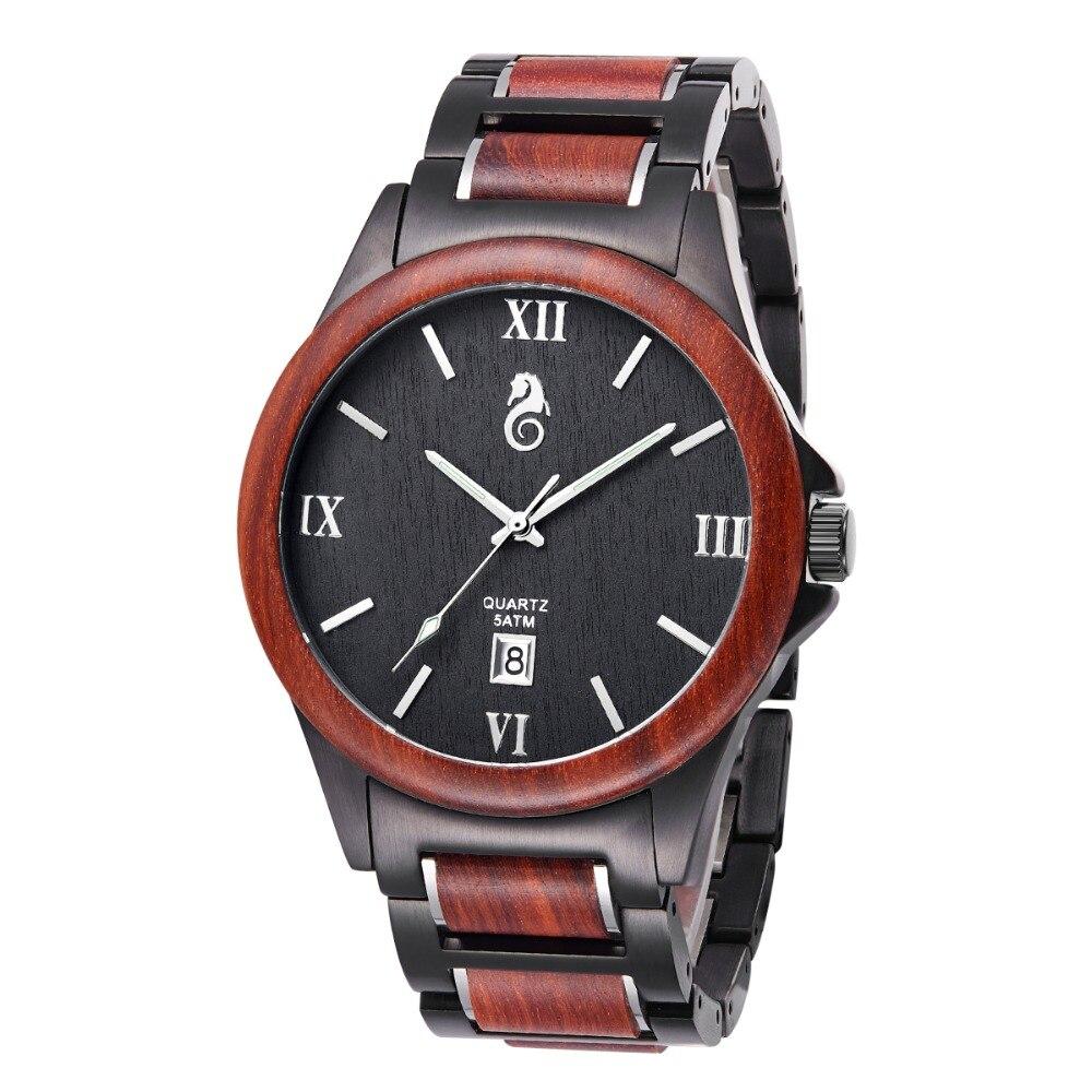Watches Mens Watches Quartz Wristwatches Black red sandalwoodWatches Mens Watches Quartz Wristwatches Black red sandalwood