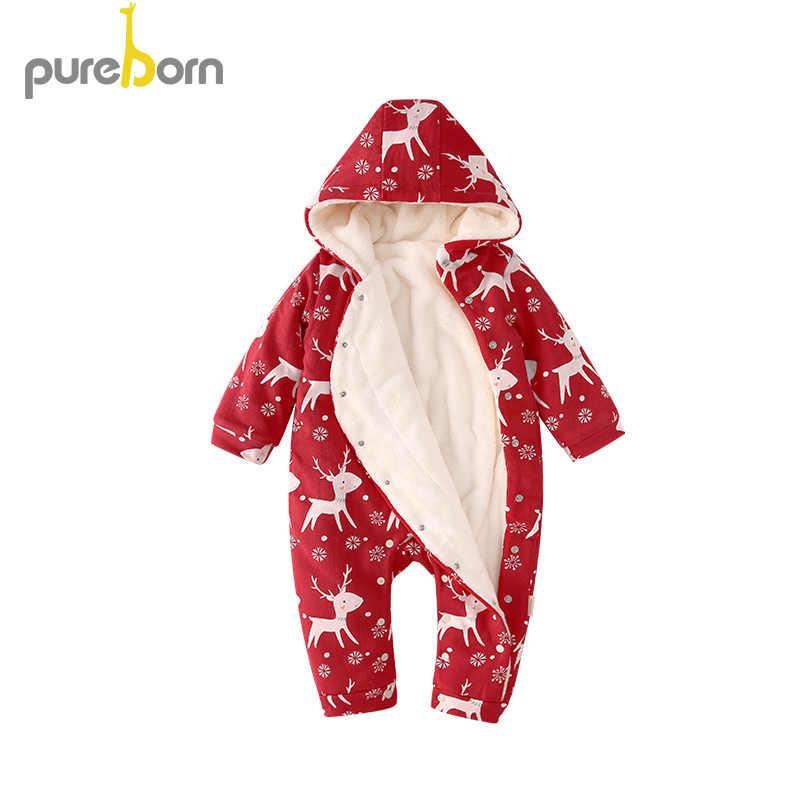 Pureborn bebê recém-nascido roupas da menina macacão de natal para o bebê meninos dos desenhos animados veados velo forrado roupas de inverno do bebê traje