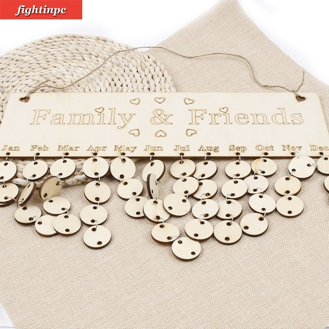 Wood Birthday Reminder Board Birch Ply plaque Sign Family Friends