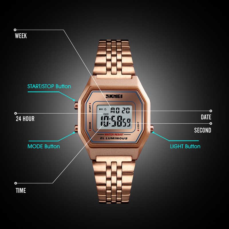 Di modo Delle Donne Della Vigilanza Digitale Di Lusso In Oro Rosa Bracciale In Acciaio Inossidabile orologio Da Polso Marca Superiore SKMEI delle Donne di Sport Orologi Orologio