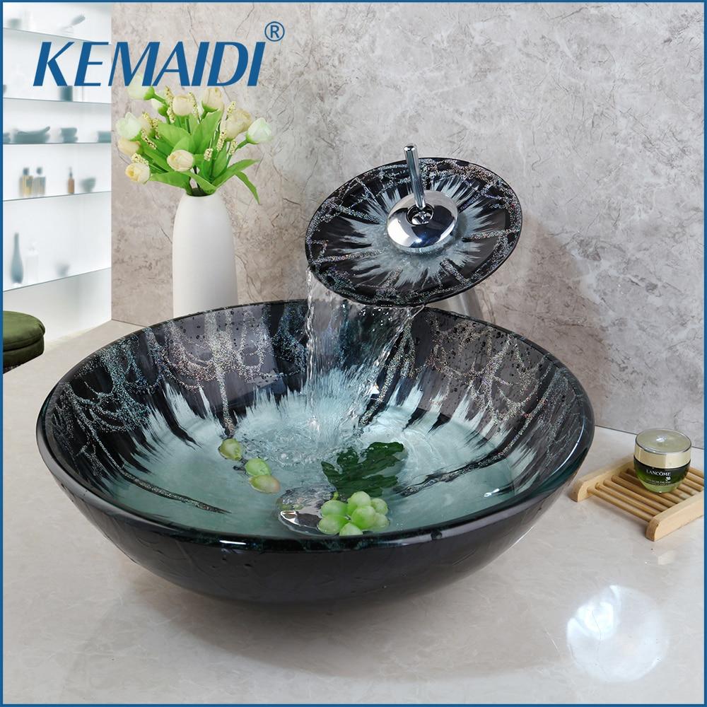 KEMAIDI Tempered Glass Hand Paint Sink Washbasin Waterfall Lavatory Bath Combine Brass Set Faucet Mixers Taps