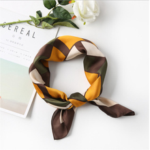 70cm*70cm 2018 New Striped Plaid Solid Color Women Luxury Brand Twill Silk Scarf Small Square Scarves Hijab Headband