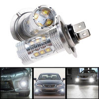 2X H7 80W 6000K CREE LED Pure White Fog Tail Driving Headlight Car Lamp Blubs 12V