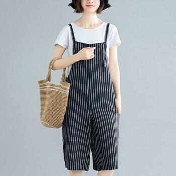 #4009 Summer Striped Sling Jumpsuits Lady Loose Off Shoulder Short Jumpsuit Casual Cotton Wide Leg Playsuit For Women Streetwear plus button front striped wide leg cami jumpsuit