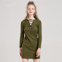 Women dress sexy V neck lace up hollow out mini autumn winter brief elegant green color dress top quality for girls