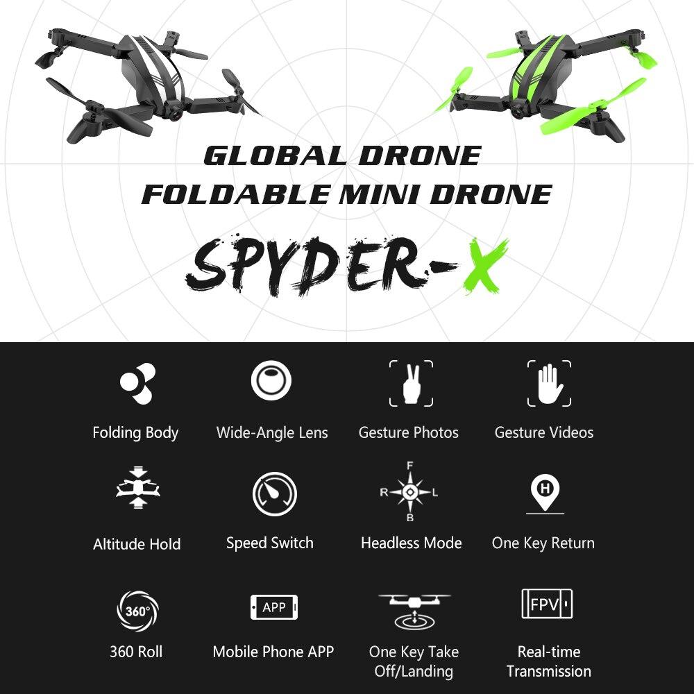 Global Drone SPYDER X FPV Camera Quadrocopter Dron Gebaar Nemen Foto Video Mini Drones met Camera HD Drone X Pro-in RC Helikopters van Speelgoed & Hobbies op  Groep 2