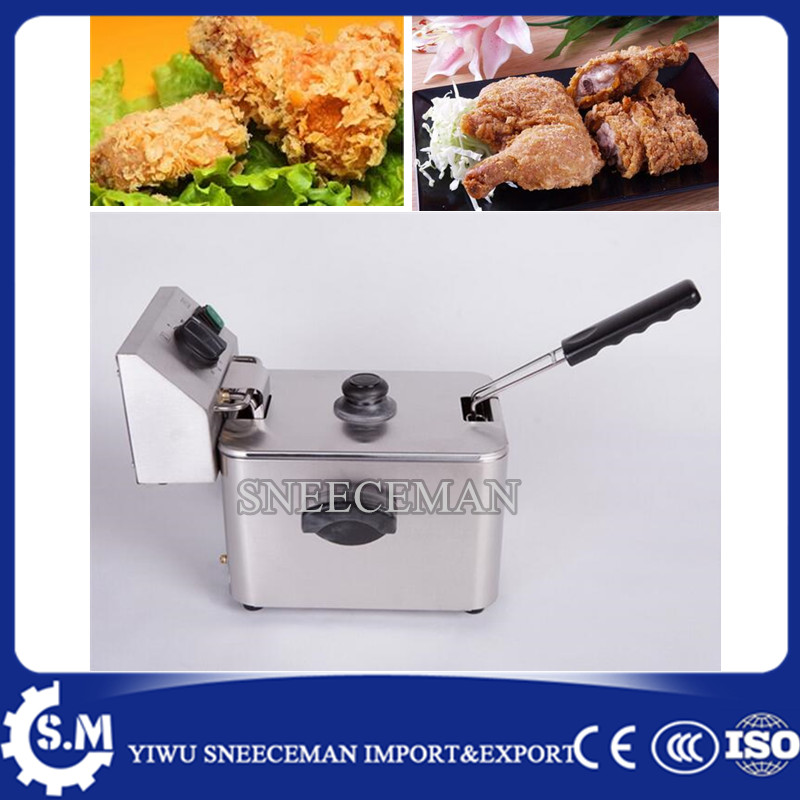 4L Single-cylinder electric fryer french fries chicken electric frying pan stainless steel deep fryer machine 1pc stainless steel commercial electric deep fryer frying machine high power deep fryers fast heating french fries ect