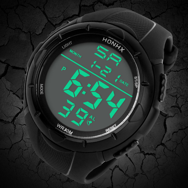 HONHX Fashion LED digital men's watch Alarm Sport Watch Silicone Military Army e