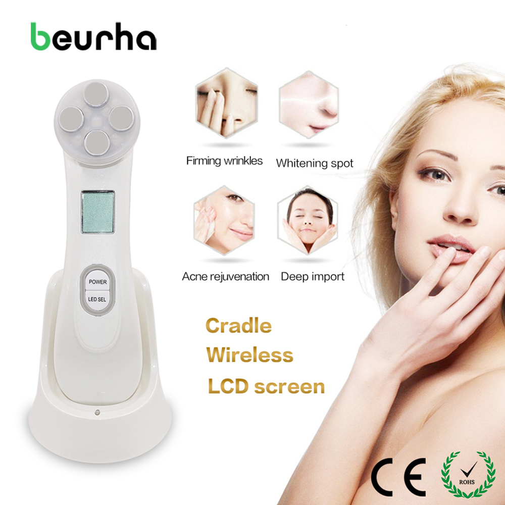 Beurha Mesotherapy Electroporation RF Radio Frequency Facial LED Photon Skin Care Device Face Lifting Tighten Eye Facial Care mini portable usb rechargeable ems rf radio frequency skin stimulation lifting tightening led photon rejuvenation beauty device