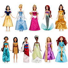 Genuine Disney store Rapunzel Jasmine Princess Doll mulan Ariel Belle toys For kids Xmas gift