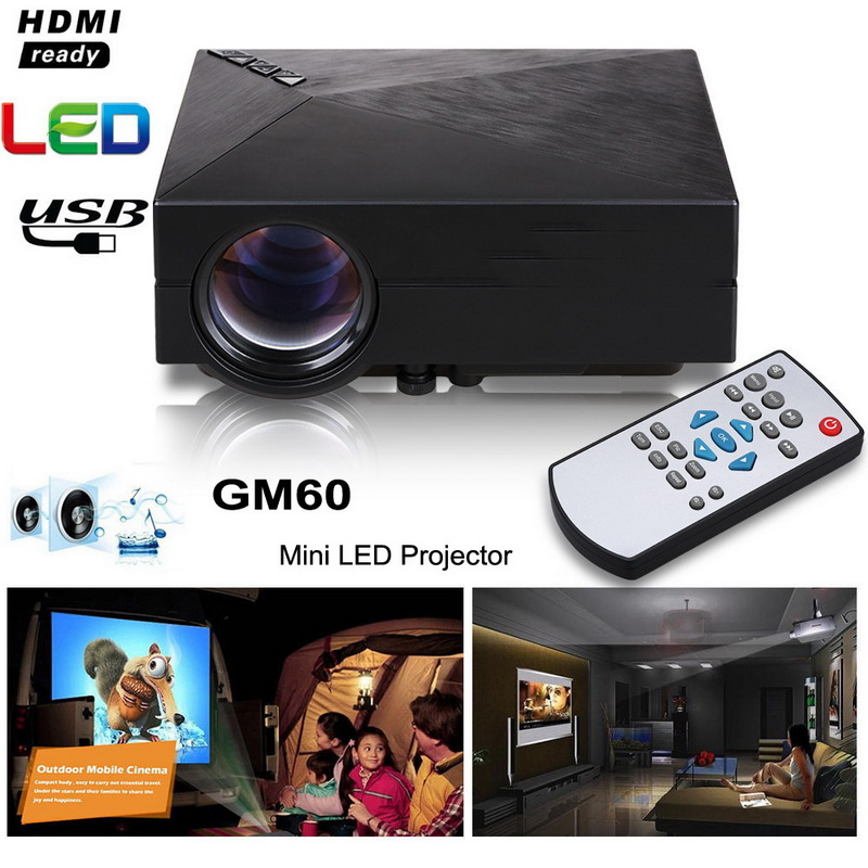 GM60 Mini Portable LED Projector 1000 Lumens FULL HD 1080P USB VGA AV SD For Video Games TV Home Theater Movie Proyector Beamer