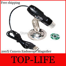 Free shipping Digital USB Microscope 200X Camera Endoscope Magnifier 8LED with Retail Box